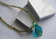 Gold and Ice Blue Beaded Necklace with Glass by WhispySnowAngel, $39.99