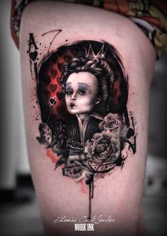 marvel tattoo | Noire Ink Alice In Wonderland Tattoo Sleeve, Alice In Wonderland Artwork, Alice And Wonderland Quotes, Queen Of Hearts Tattoo, Queen Of Hearts Alice, Body Tattoos, Sleeve Tattoos, Tatoos, Tim Burton