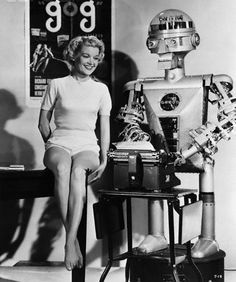 """Gog (1954) Promotional work for the Sci-Fi movie about robots called """"Gog"""" (1954). Here he is with Jane Mansfield."""