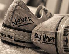 never say never converse all stars Aesthetic Shoes, Aesthetic Grunge, All Star Tumblr, Tenis Vans, Baskets, Vanz, I Love Justin Bieber, Shoe Art, Favim