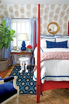 Beautiful Blue Bedrooms: Navy and Red Master Bedroom