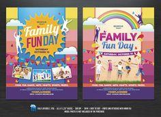 Family Fun Day Flyers by DesignWorkz on @creativemarket
