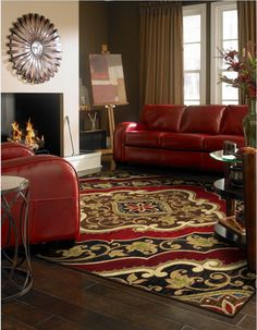 Bold rug colors can enrich room decor colors