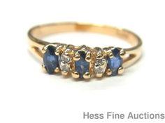 Genuine Diamond Natural Sapphire 14k Gold Ladies Petite Fashion Ring Size 5.25