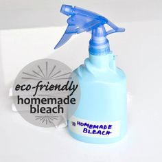 A Nontoxic and Homemade Bleach? Yes, Please!  What You'll Need:    •Spray bottle  •Spray paint (optional)  •Glass measuring cup  •1 cup hydrogen peroxide  •1/2 cup vinegar  •1 tablespoon lemon juice  •1/2 cup water  •Essential oil (optional)