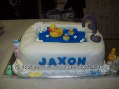 Awesome Rubber Ducky Shower Cake... This website is the Pinterest of birthday cake ideas