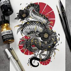 Japanese Tattoos 188588303134507883 - Coiled Snake by Jonna Hyttinen Source by BellaRosazza Tattoo Sketches, Tattoo Drawings, Art Sketches, Art Drawings, Drawing Art, Kunst Tattoos, Body Art Tattoos, Sleeve Tattoos, Arabic Tattoos
