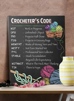 Crochet Patterns Funny Handy chart of knitting acronyms Knitting Quotes, Knitting Humor, Crochet Humor, Knitting Projects, Crochet Projects, Sewing Quotes, Boho Crochet, Knit Or Crochet, Crochet Crafts
