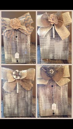 Burlap wooden picture frame or recipe holder by tania Barn Wood Projects, Burlap Projects, Burlap Crafts, Pallet Crafts, Wooden Crafts, Diy Projects To Try, Craft Projects, Burlap Bows, Craft Ideas