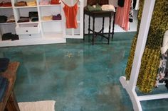 Make a Splash with Water-Inspired Concrete Floors: Progressive Concrete Coatings Wilmington, NC Polished Cement Floors, Acid Stained Concrete Floors, Basement Flooring, Bedroom Flooring, 3d Flooring, Basement Bathroom, Floor Design, House Design, Concrete Coatings