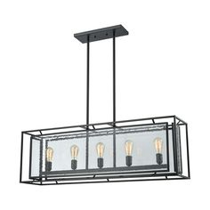 Elk Lighting 65262/5 Eastgate 5 Light Chandelier In Textured Black With Seedy Glass   <p><strong>Elk Lighting Eastgate 5 Light Chandelier In Textured Black With Seedy Glass</strong><br>The Eastgate series balances a modish openwork frame, finished in Textured Matte Black with