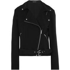 Kate Moss for Equipment Roxana silk-jersey biker jacket ($455) ❤ liked on Polyvore featuring outerwear, jackets, black, rider jacket, biker jackets, motorcycle jacket, silk jersey and asymmetrical zip moto jacket