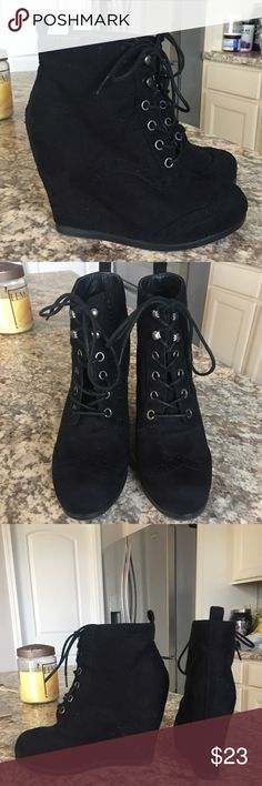 Black wedged bootie! 5.5/6! Size 5.5 but will fit a 6! That's what I am! Only worn once. Still in great shape! Very cute shoes. Very flattering to the figure as well, as they make your legs look longer! Mossimo Supply Co. Shoes Wedges