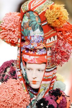 Kenzo at Paris Fashion Week Spring 2011 #pompom #flower