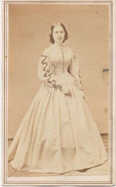 Young Beautiful Civil War Era Woman in Fine Light Color Dress Fall River MA Crit   eBay