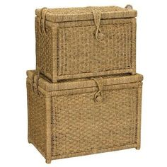 Attrayant HouseHold Home Indoor Large Seagrass Chest With Woven Button (Set Of