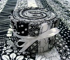 Jelly Roll Quilt Fabric | Black and White Jelly Roll Quilt Fabric Strips by SEWFUNQUILTS, $19.50