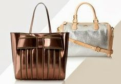 Daytime Shine: Metallic Bags  -- Brighten up your wardrobe with a touch of shimmer. A chic handbag in a metallic shade like silver, gold or bronze does the trick. Here, find a variety of silhouettes in a range of finishes. Clutches, cross-bodies and totes. Perforated, embossed or glossy. There are plenty of bright, shiny option here that you'll love.