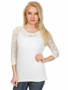 Lace Inset Sweater #vanity #fashion #womens #womensfashion #womensapparel #spring2014 #clothing #lace #sweater