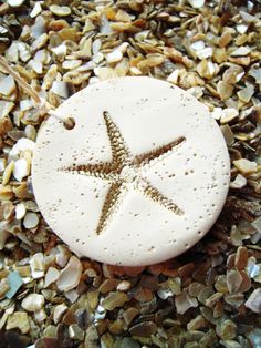 Wedding Favor Tags Gift Hang Favors Tag Wine Charms Starfish Beach Theme Decorations Polymer Clay Circle Cottage White Champagne Gold. $15.00, via Etsy.