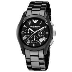 A new interpretation of a classic, this timeless Armani chronograph watch features gleaming black ceramic construction with Roman numeral hour markers and a black dial. This functional watch is finished with three subdials and a date window.