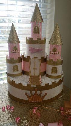 Princess diaper cake, # Princess # diaper pie - Baby Party - Baby Tips Idee Baby Shower, Baby Shower Diapers, Baby Shower Cakes, Baby Shower Gifts, Baby Party, Baby Shower Parties, Baby Shower Princess, Baby Princess, Diaper Castle