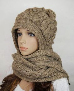 Other – Handmade knitted crochet hooded scarf hat woman – a unique product by on DaWanda Crochet Hooded Scarf, Crochet Scarves, Knit Crochet, Crochet Hats, Hooded Cardigan, Knitting Wool, Knitting Patterns, Scarf Hat, Bandeau