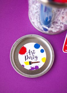 art party paint bucket invitation with oriental trading + modern moments designs