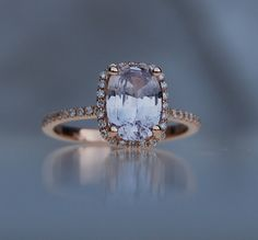 2.04ct light lavender gray blue color change cushion sapphire diamond ring 14k rose gold ring engagement ring-1st payment