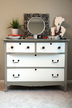 vintage dresser refurbished with gray and white paint.
