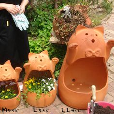 Rakuten: Animal planter stands type せらねこ LL size [handmade terra cotta]- Shopping Japanese products from Japan