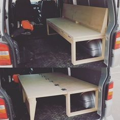 Start of van fit out frothing thanks to Camper Beds, Diy Camper, Camper Van, Fold Out Couch, Fold Out Beds, Truck Bed Camping, Minivan Camping, Campervan Bed, Campervan Interior