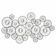 """Wall decor made up of spoked round mirrors.  Product: Wall decor. Construction Material: Metal and mirrored glass. Color: Silver. Dimensions: 34"""" H x 60"""" W x 1"""" D Josh and Main"""