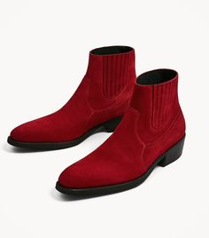 Men,s Genuine Red Leather Suede Rounded Toe Chelsea Jumper Slip On Men's Boot Red Ankle Boots, Red Boots, Leather Ankle Boots, Calf Leather, Red Leather, Soft Leather, Men's Shoes, Shoe Boots, Dress Shoes