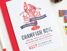 Crawfish Boil Party Invitations - Seafood Boil Party Invitations
