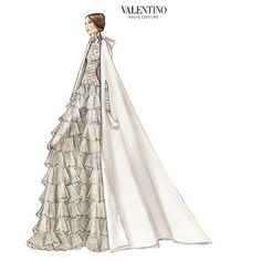 """In 1967, Valentino was awarded the prestigious Neiman Marcus Award for his infamous """"No-color Collection"""" in which he rebuked the trend for decadent color palettes, opting instead for hues of beige, white and ivory.  This collection launched his signature """"V"""" trademark. #Stole #WeddingStole  See blogpost at http://www.whitestole.com/blog--flowing-chic-modern-bridal-style/valentino-garavanis-undisputed-influence-on-romantic-wedding-wear"""