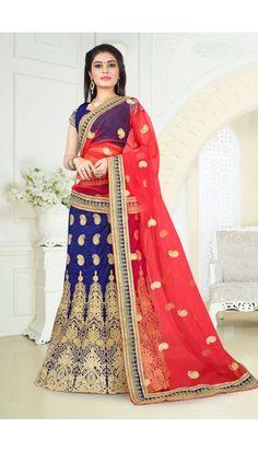 Gorgeous Blue Art Silk Lehenga With Art Silk Choli - DMV11498