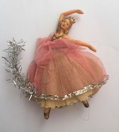vintage Christmas tree fairy angel ballerina doll