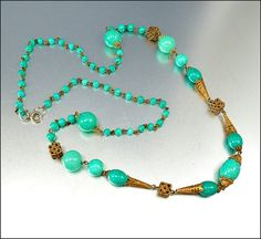 Czech Art Deco Necklace Peking Glass Gold Flapper by boylerpf