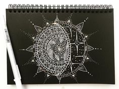 """Мандала Солнце-Луна белой и цветной ручкой на чёрной бумаге очень! Помню, работала в США летом, рисовала татушки хной, вариаций """"солнце - Луна"""" было множествоно, в основном, простые.. Ведь нарисовать нужно было быстро и хорошо  очереди собирались.  P. S. Ничего не рисуется акварелью, какое-то особое состояние ума там нужно, мой ум беспокоен  #мандала #mandala #mandalaart #mandalalove #zendala #henna #mehndi #mehendi  #art #ink #indianart #зенарт #zenart #zentangle #doodle #caatbury_ze..."""