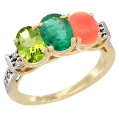 10K Yellow Gold Natural Peridot, Emerald and Coral Ring 3-Stone Oval 7x5 mm Diamond Accent, sizes 5 - 10 *** Additional details at the pin image, click it  : Jewelry Ring Bands