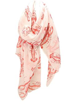 Wholesale Light Weight Oblong Scarf Coral Red and White Lobster Print