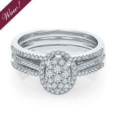 Helzberg Diamond Symphonies® Mosaica 1/2 ct. tw. Diamond Engagement Ring Set in 10K Gold