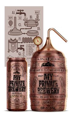 ♂ Creative packaging design with unique bronze looking touch-My Private Brewery