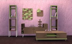 "soloriya: "" ***Minimalist Living room*** The set includes two decorative storages, dresser, coffee table, wall art, table sculpture and clock. Download If you need separated files you can find them..."