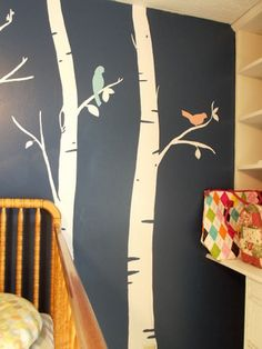 Baby Girl's Navy Blue Bird and Tree Themed Antique Nursery Room