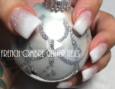French Ombre Glitter Nails #ombrenails Glitter Acrylics, Glitter Gradient Nails, Acrylic Nails, Glitter Uggs, White Glitter, Ombre French Nails, French Tip Nails, French Tips, Glitter French Nails