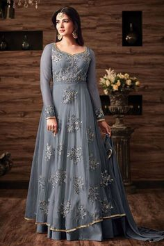 Grey Color Net Fabric Embroidered Wedding Wear Stylish Indian Occasionally Look Sonal Chauhan Heavy Anarkali Suit #sonalchauhan #maishamaskeen #floorlengthanarkali #netfabric #gown #georgette #greydress #salwarsuits #partywear #weddingseason #festivalfashion #womenfashion #celebration #fashion #style #beauty #bollywooddesigner #fancyfabric #canada #australia #banglore #saudi #usa