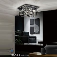 Diyas IL50387 Class 10 Light Chrome Flush Ceiling Light