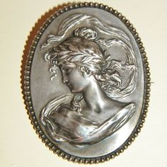 Antique Sterling High Relief Cameo Brooch, Highly Detailed